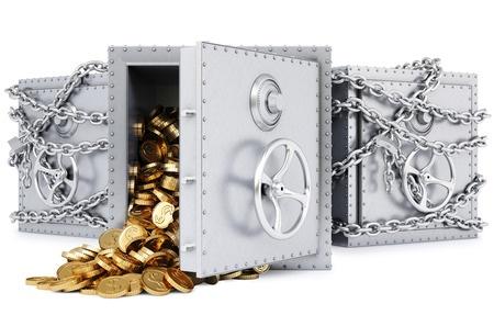 3D trezor v retezech a otevreny s mincemi ZABLOKOVANY UCET